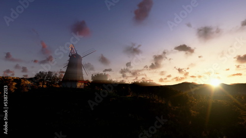 Wind Mill and timelapse clouds, panning