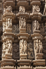 Detail of carving on a temple in Khajuraho, Madhya Pradesh, Indi