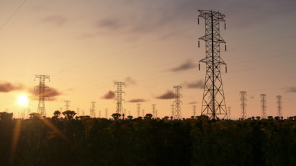 Electricity pillars, timelapse sunrise, night to day