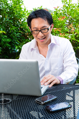 Chinese Businessman working outdoor