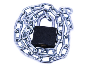 Chrome chain with a lock. isolated on white background