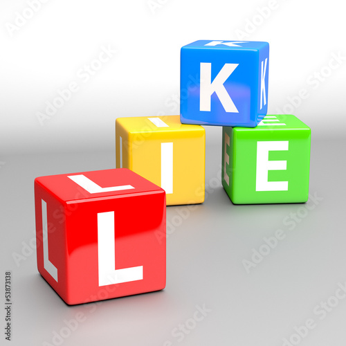 like word made of colorful toy blocks