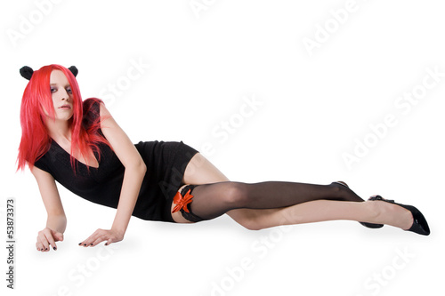 attractive young sexy red hair woman in stockings