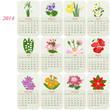 2014 calendar with flowers of the months