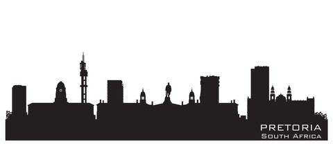 Pretoria South Africa skyline Detailed vector silhouette
