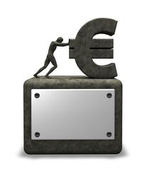 mann schiebt eurosymbol auf sockel