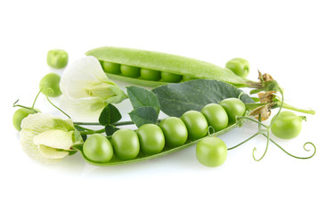 fresh green pea in the pod with leaves and flower