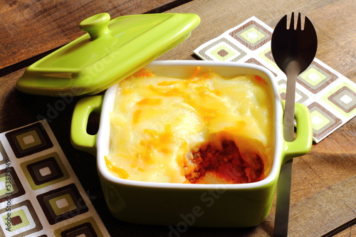 Cottage pie in an individual casserole