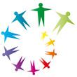 Bunte Spirale mit Menschen - Gemeinschaft