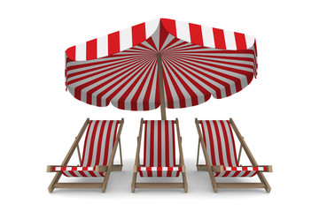 Three deckchair and parasol on white background. Isolated 3D ima