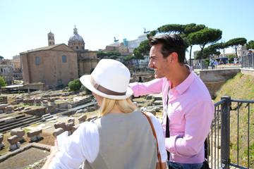 Couple in Rome visiting Roman Forum
