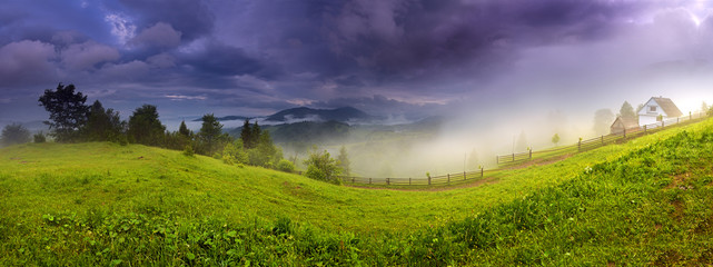 Evening landscape in the mountains. Ukraine.