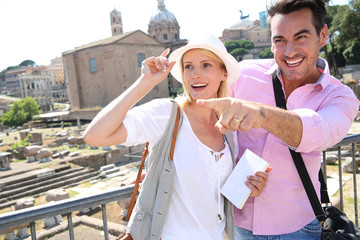Couple in Rome visiting Roman Forum