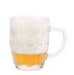 Glass of foamy beer on white background. 80%.