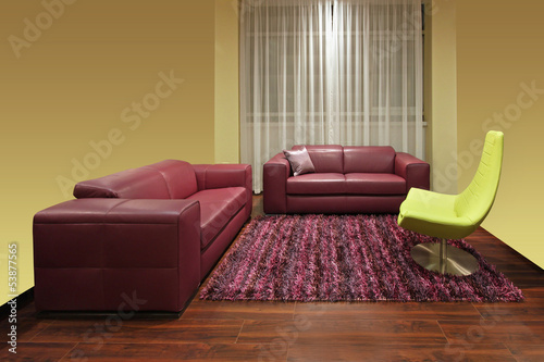 Dark red living room