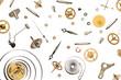 Leinwanddruck Bild parts of clock mechanism on pure white background