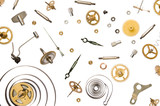 parts of clock mechanism on pure white background