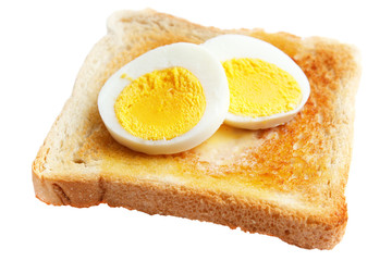 Toasted white bread with slices of hard boiled egg