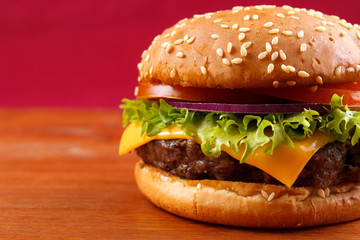 Hamburger closeup with copyspace