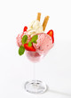 Strawberry ice cream sundae