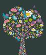 Spring tree flower shape