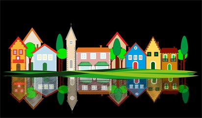 illustrazione di villaggio con riflesso