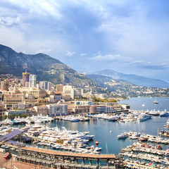 Monaco Montecarlo aerial harbor view. Azure coast. France