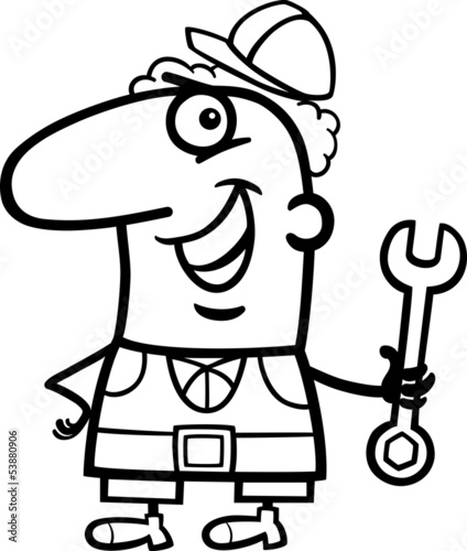 worker cartoon coloring page
