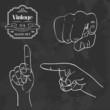 Vintage chalkboard finger pointing