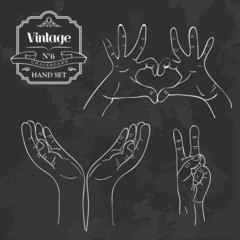 Vintage chalkboard hand sign set