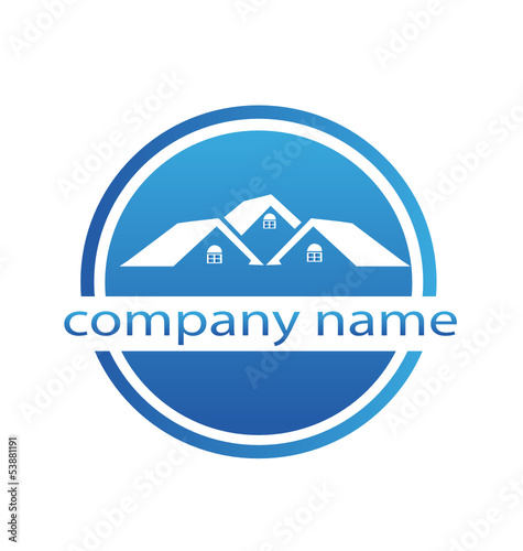Houses blue design logo vector