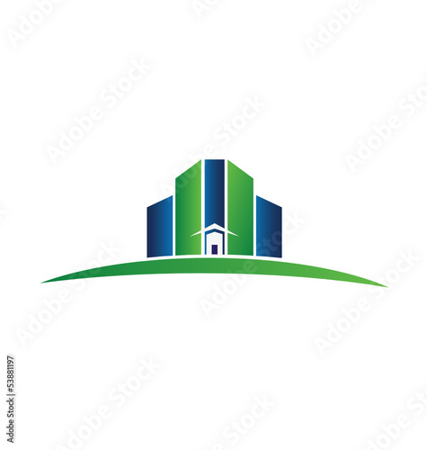Real estate green and blue buildings logo vector