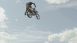 Extreme Sport Freestyle Motocross Against Blue Sky