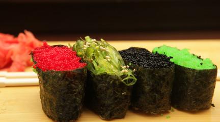 Sushi with caviar closeup