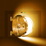 Light through a half-open bank safe (vault). The gold version