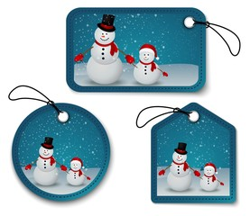 Set of Christmas bubbles, stickers, labels. with snowman