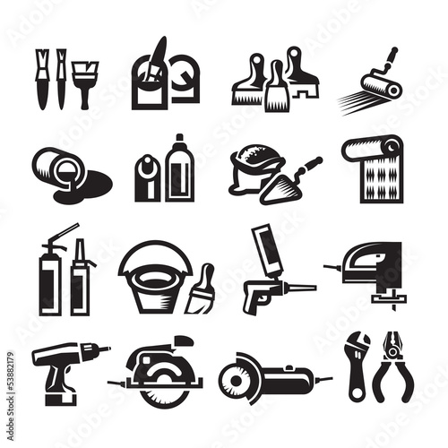 Black vector construction icon set