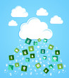 Cloud computing eco friendly icons