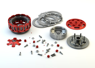 Motobike Clutch parts disassembled isolated on white background