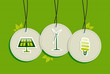 Hanging green energy icons set badges