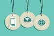 Hanging cloud computing sign icons set
