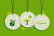 Hanging green tree sun  icons set