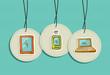 Hanging social media icons set