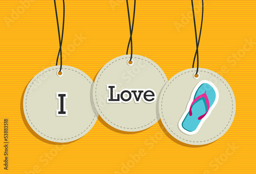 Hanging i love summer sign icons set