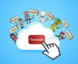 Cloud computing translate concept