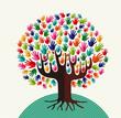 Colorful solidarity tree hands