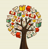Fototapety Concept design hand books tree