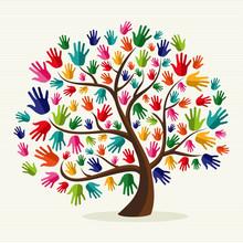 Solidarność ręcznie kolorowe drzewa