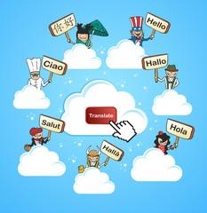 Cloud community translate concept