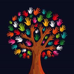 Multi social solidarity tree hands